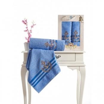 Barbossa Nakışlı Havlu Set-Mavi