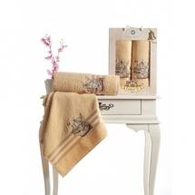 Barbossa Nakışlı Havlu Set-Bej