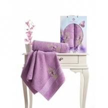 Butterfly Nakışlı Havlu Set-Lila