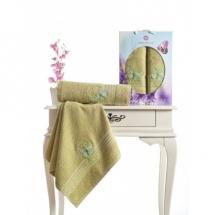 Butterfly Nakışlı Havlu Set-Yeşil
