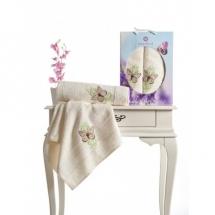 Butterfly Nakışlı Havlu Set-Krem