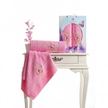Butterfly Nakışlı Havlu Set-Pembe
