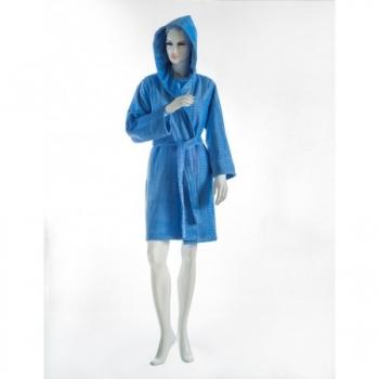Kadife İmray Bayan Kısa Kapşonlu Bornoz Mavi